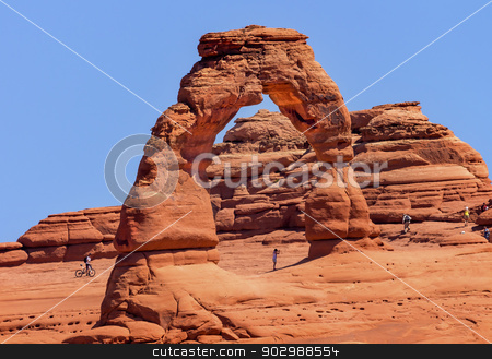 Delicate Arch Bicycle Rock Canyon Arches National Park Moab Utah stock photo, Delicate Arch Bicycle Red Orange Rock Canyon Arches National Park Moab Utah USA Southwest.  by William Perry