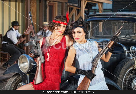 Attractive Female Gangsters with Guns stock photo, 1920s attractive female gangsters with rifle and submachine gun by Scott Griessel
