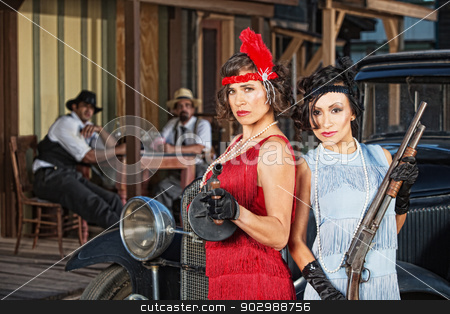 Stylish Female Gangsters stock photo, Stylish female 1920s gangsters with weapons by Scott Griessel