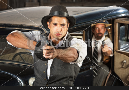 Tough 1920s Era Gangsters with Weapons stock photo, Tough 1920s vintage gangsters by car with weapons by Scott Griessel