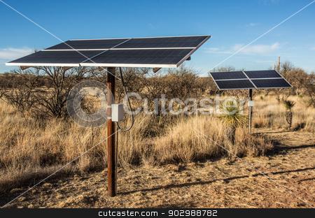 Desert Solar Panels stock photo, Small Solar Panel in Desert Setting by Scott Griessel