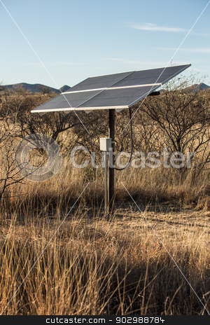 Desert Solar Panels stock photo, Small Solar Panel in Desert Setting by Scott Griessel