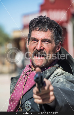 Screaming Cowboy Aims Gun stock photo, Screaming Cowboy Aims Gun at You by Scott Griessel