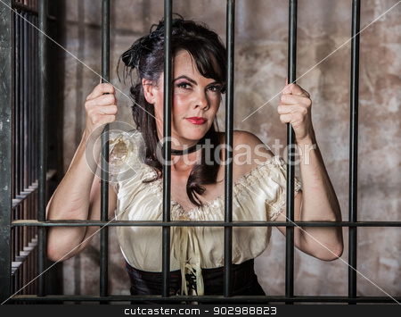 Portrait of Female Prisoner stock photo, Portrait of a Female Prisoner in the Old West by Scott Griessel