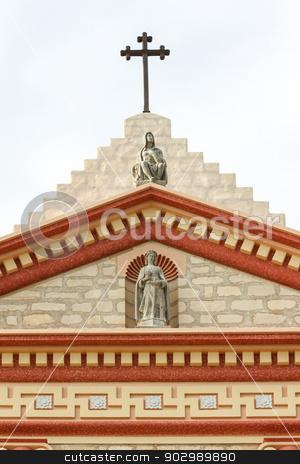 Santa Barbara Mission Cross stock photo, The cross on top of the Santa Barbara Mission. by Henrik Lehnerer