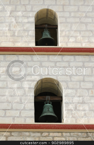 Santa Barbara Mission Bells stock photo, Focus on two of the Santa Barbara Mission bells. by Henrik Lehnerer