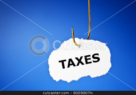 Hooked Taxes Concept stock photo, Taxes printed on a piece of paper hooked on a fishing hook. by Ivelin Radkov
