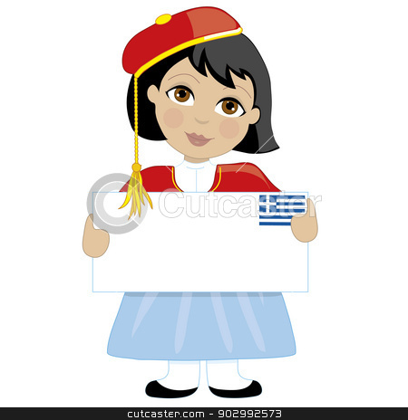 Greek Girl Sign stock vector clipart, A young girl dressed in a traditional Greek costume is holding a blank sign with a Greek flag in the top right hand corner. Text can be added to suit a project by Maria Bell