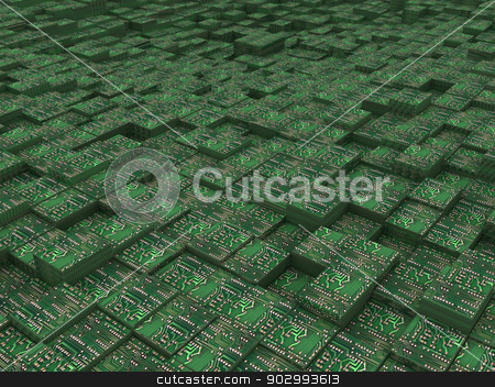 Electronic urban background stock photo, Electronic urban background by Guru3D