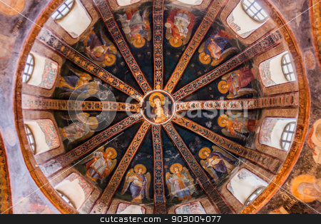 Detail of Ceiling in Chora Church stock photo, Dome at Chora Church in Istanbul with Virgin and Child by Scott Griessel