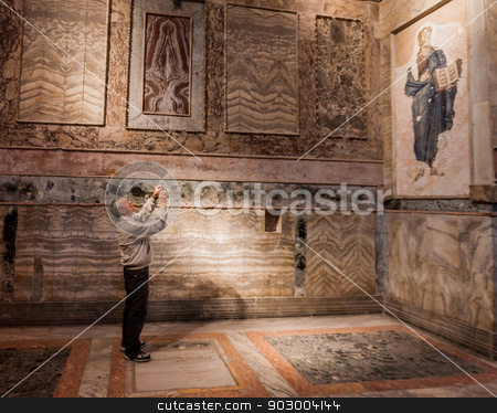 Tourist Takes Photo in Chora Church stock photo, American Tourist Takes Photograph in Chora Church by Scott Griessel