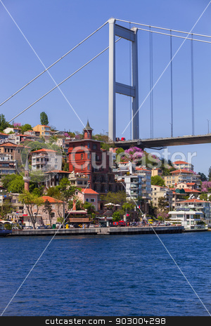 European Side of Bosphorus Bridge stock photo, European Side of Bosphorus Bridge Connecting Europe and Asia by Scott Griessel