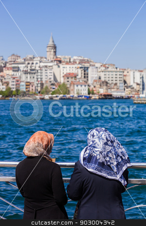 Muslim women on the Bosphorus stock photo, Muslim women with scarves on the Bosphorus by Scott Griessel