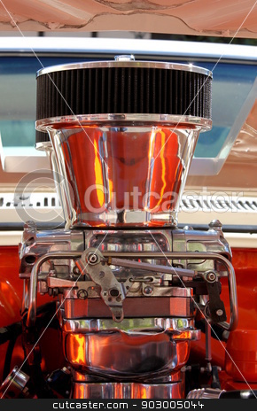 Chrome Engine stock photo, Close up of a chrome engine with reflection. by Henrik Lehnerer