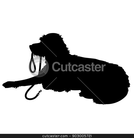 Shaggy Dog Silhouette stock vector clipart, A black silhouette of a shaggy dog lying down with his leash in his mouth waiting to go for a walk by Maria Bell