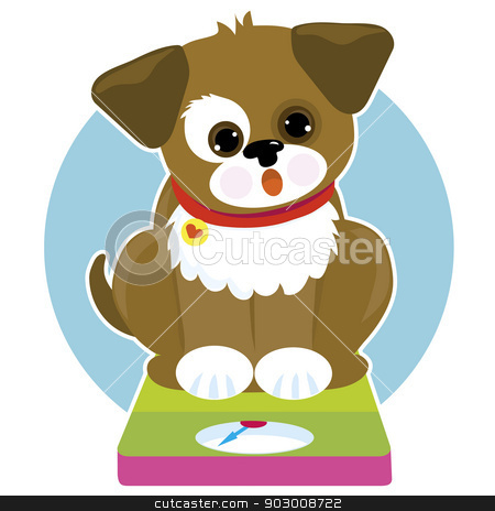 Fat Dog Scale stock vector clipart, A cute little dog is siiting on a weigh scale. He looks surprised. Perhaps he is a bit overweight by Maria Bell