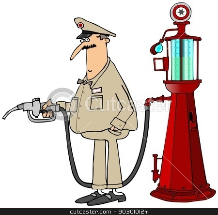 Gas station attendant stock photo, This illustration depicts a gas station attendant holding the nozzle for an antique gasoline pump. by Dennis Cox