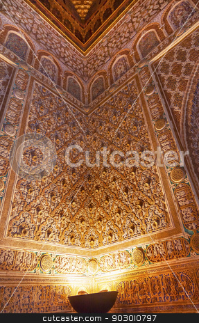 Mosaics Corner Ambassador Room Alcazar Royal Palace Seville Spai stock photo, Mosaics Corner Ambassador Room Alcazar Royal Palace Seville Andalusia Spain.  Originally a Moorish Fort, oldest Royal Palace still in use in Europe. Built in the 1100s and rebuilt in the 1300s.  by William Perry