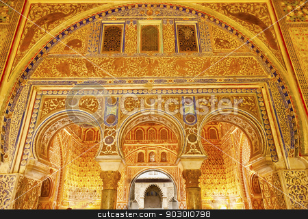 Horseshoe Arches Ambassador Room Alcazar Royal Palace Seville Sp stock photo, Horseshoe Arches Ambassador Room Alcazar Royal Palace Seville Andalusia Spain.  Originally a Moorish Fort, oldest Royal Palace still in use in Europe. Built in the 1100s and rebuilt in the 1300s.  by William Perry