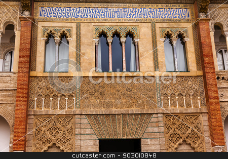 Mosaics and Windows Peter of Castle's Palace Alcazar Royal Palac stock photo, Mosaics and Windows Peter of Castle's Palace Alcazar Royal Palace Seville Andalusia Spain.  Originally a Moorish Fort, oldest Royal Palace still in use in Europe. Built in the 1100s and rebuilt in the 1300s.  by William Perry