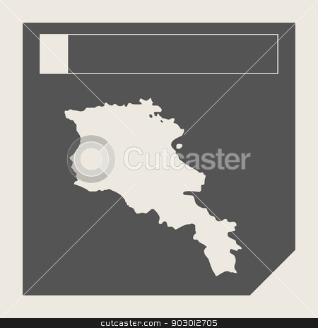 Armenia map button stock photo, Armenia map button in responsive flat web design map button isolated with clipping path. by Martin Crowdy