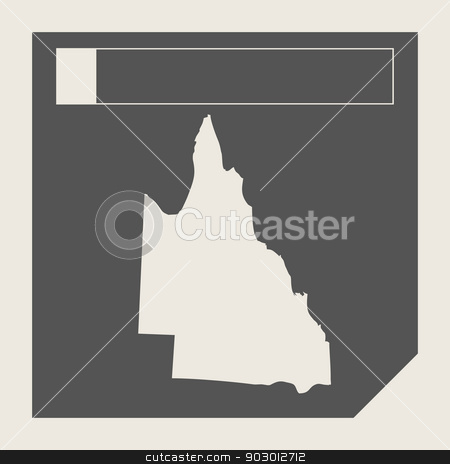Australia Queensland map button stock photo, Australia Queensland map button in responsive flat web design isolated with clipping path. by Martin Crowdy
