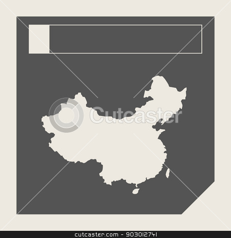 China map button stock photo, China map button in responsive flat web design map button isolated with clipping path. by Martin Crowdy