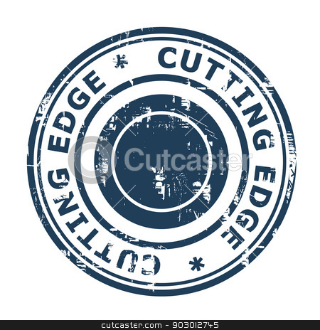 Cutting Edge concept stamp stock photo, Cutting Edge concept stamp isolated on a white background. by Martin Crowdy