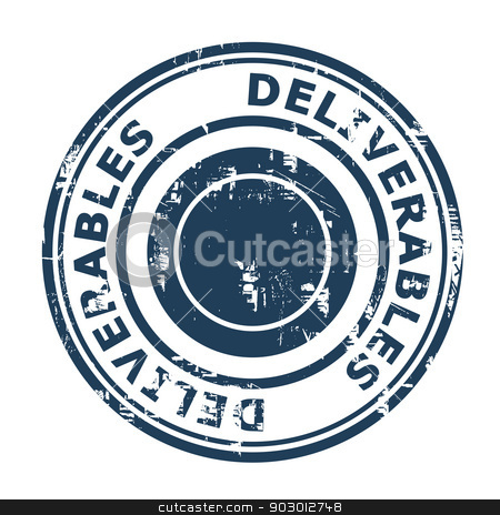 Deliverables concept stamp stock photo, Deliverables concept stamp isolated on a white background. by Martin Crowdy