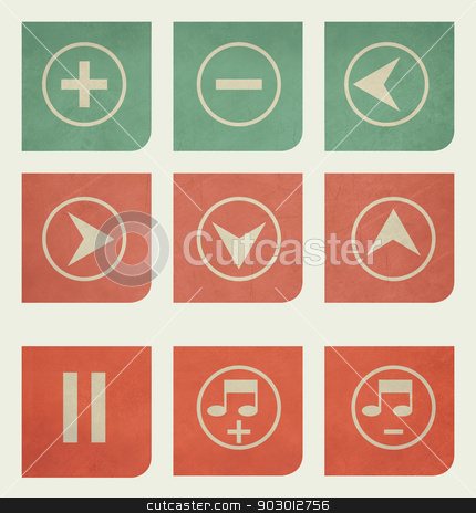 Flat design music buttons with grunge effect stock photo, Flat design music buttons with grunge effect by Martin Crowdy