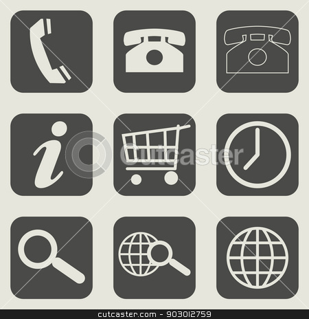 Flat web design business icons stock photo, Set of different flat web design business icons. by Martin Crowdy