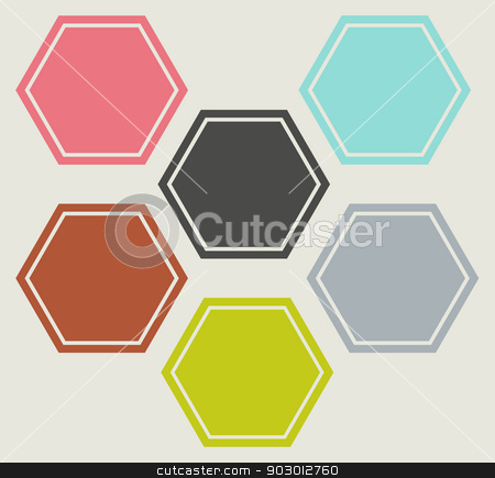 Flat web design icons stock photo, Set of hexagonal shaped flat web design icons in different colors. by Martin Crowdy