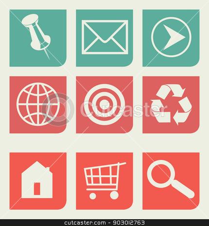Flat web design icons set stock photo, Set of unique flat web design icons with copy space. by Martin Crowdy