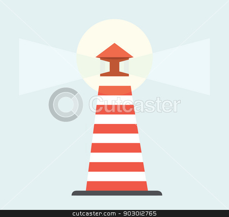 Flat web design lighthouse stock photo, Illustration of flat web design style lighthouse. by Martin Crowdy