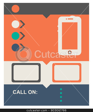 Flat design web page stock photo, Flat design web page background with mobile telephone and copy space. by Martin Crowdy