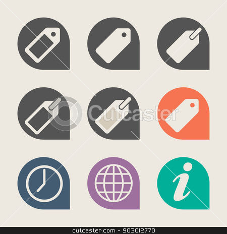 Flat web design travel icons stock photo, Set of flat web design travel icons isolated with clipping path. by Martin Crowdy