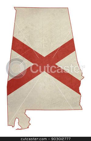 Grunge state of Alabama flag map stock photo, Grunge state of Alabama flag map isolated on a white background, U.S.A. by Martin Crowdy