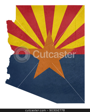 Grunge state of Arizona flag map stock photo, Grunge state of Arizona flag map isolated on a white background, U.S.A. by Martin Crowdy
