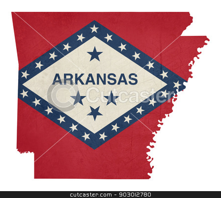 Grunge state of Arkansas flag map stock photo, Grunge state of Arkansas flag map isolated on a white background, U.S.A. by Martin Crowdy