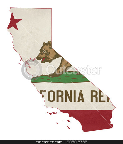 Grunge state of California flag map stock photo, Grunge state of California flag map isolated on a white background, U.S.A. by Martin Crowdy