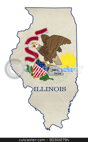 Grunge state of Illinois flag map stock photo, Grunge state of Illinois flag map isolated on a white background, U.S.A.  by Martin Crowdy
