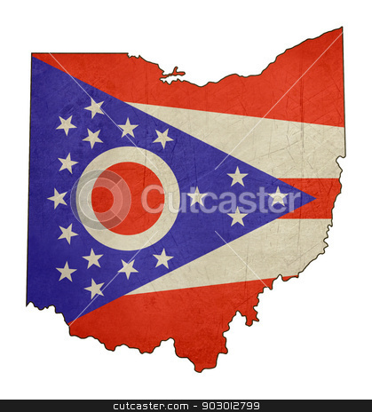 Grunge state of Ohio flag map stock photo, Grunge state of Ohio flag map isolated on a white background, U.S.A. by Martin Crowdy
