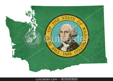 Grunge state of Washington flag map stock photo, Grunge state of Washington flag map isolated on a white background, U.S.A.  by Martin Crowdy