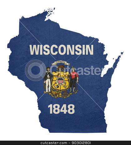 Grunge state of Wisconsin flag map stock photo, Grunge state of Wisconsin flag map isolated on a white background, U.S.A.  by Martin Crowdy