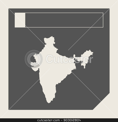 India map button stock photo, India map button in responsive flat web design map button isolated with clipping path. by Martin Crowdy