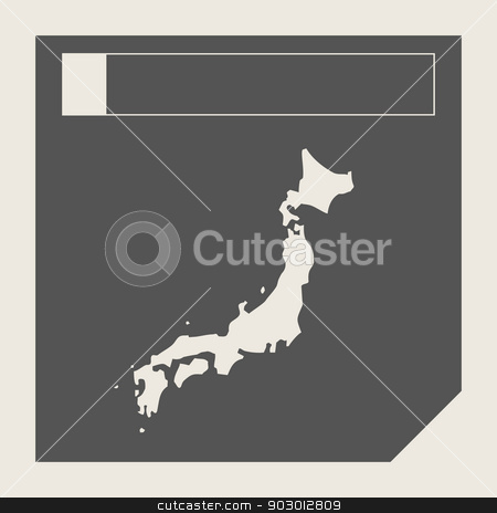 Japan map button stock photo, Japan map button in responsive flat web design map button isolated with clipping path. by Martin Crowdy