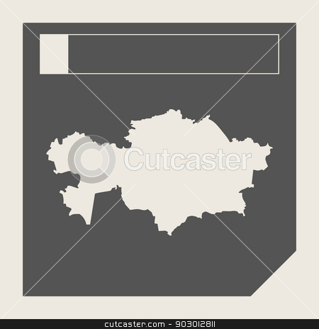 Kazahkstan map button stock photo, Kazahkstan map button in responsive flat web design map button isolated with clipping path. by Martin Crowdy