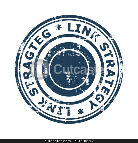 Link strategy concept stamp stock photo, Link strategy concept stamp isolated on a white background. by Martin Crowdy