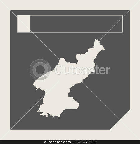 North Korea map button stock photo, North Korea map button in responsive flat web design map button isolated with clipping path. by Martin Crowdy