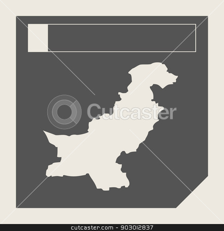 Pakistan map button stock photo, Pakistan map button in responsive flat web design map button isolated with clipping path. by Martin Crowdy